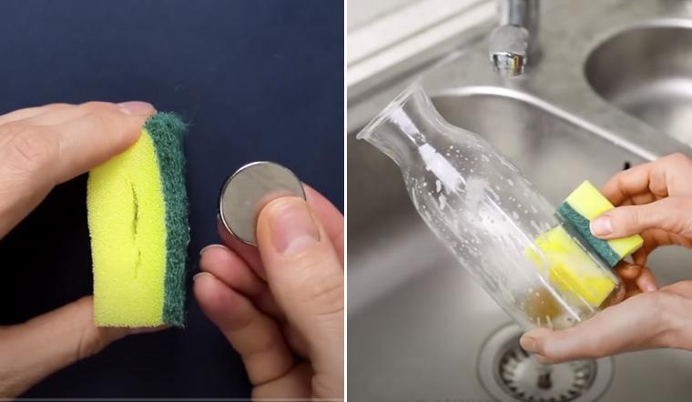 Sang nhà bạn thấy miếng rửa chén có nam châm, sau khi thấy bạn thực hiện vội áp dụng ngay