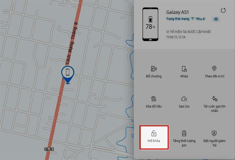 Mở khóa bằng tính năng Find my mobile