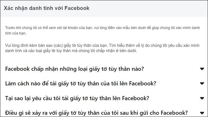 Thông báo hiện về việc gửi thông tin để xác nhận kèm theo các điều khoản của Facebook