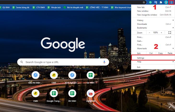 Bấm vào biểu tượng 3 chấm ở góc trên bên phải của trình duyệt web