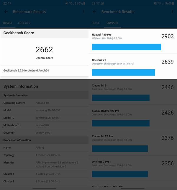 Điểm hiệu năng đo bằng Geekbench 5 của Samsung Galaxy Note20 Ultra