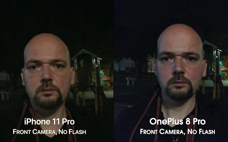 Selfie trên OnePlus 8 Pro và iPhone 11 Pro vào buổi đêm