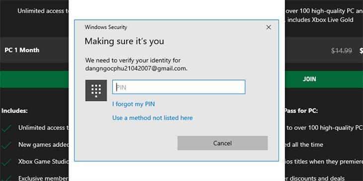 Nhập mã pin và xác nhận