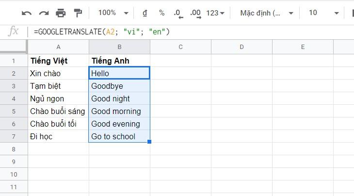 Dịch hàng loạt với bất cứ ngôn ngữ nào bằng Google Sheets