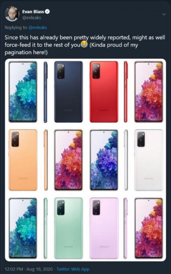 Các phiên bản màu của Galaxy S20 FE