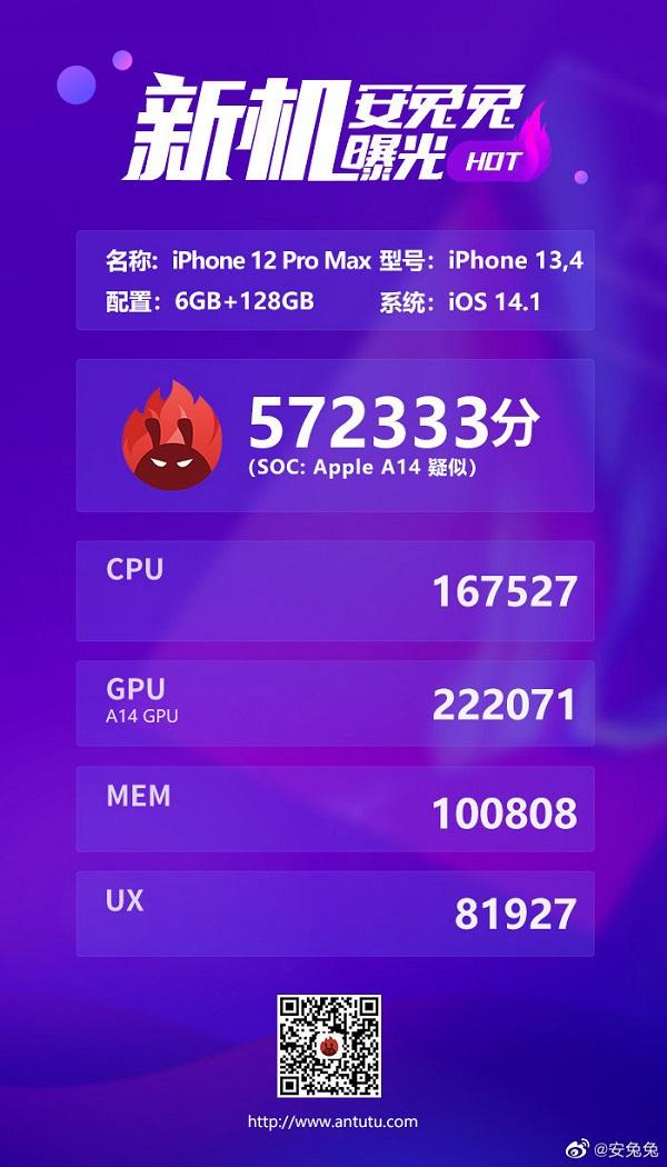 iPhone 12 Pro Max với chip Apple A14 5nm, RAM 6GB lộ điểm sức mạnh 'khủng khiếp' trên AnTuTu Benchmark