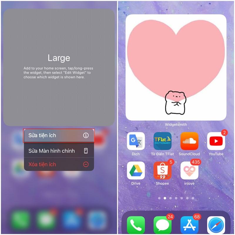 Tại giao diện chỉnh sửa tìm kích cỡ widget bạn đã tạo là xong.