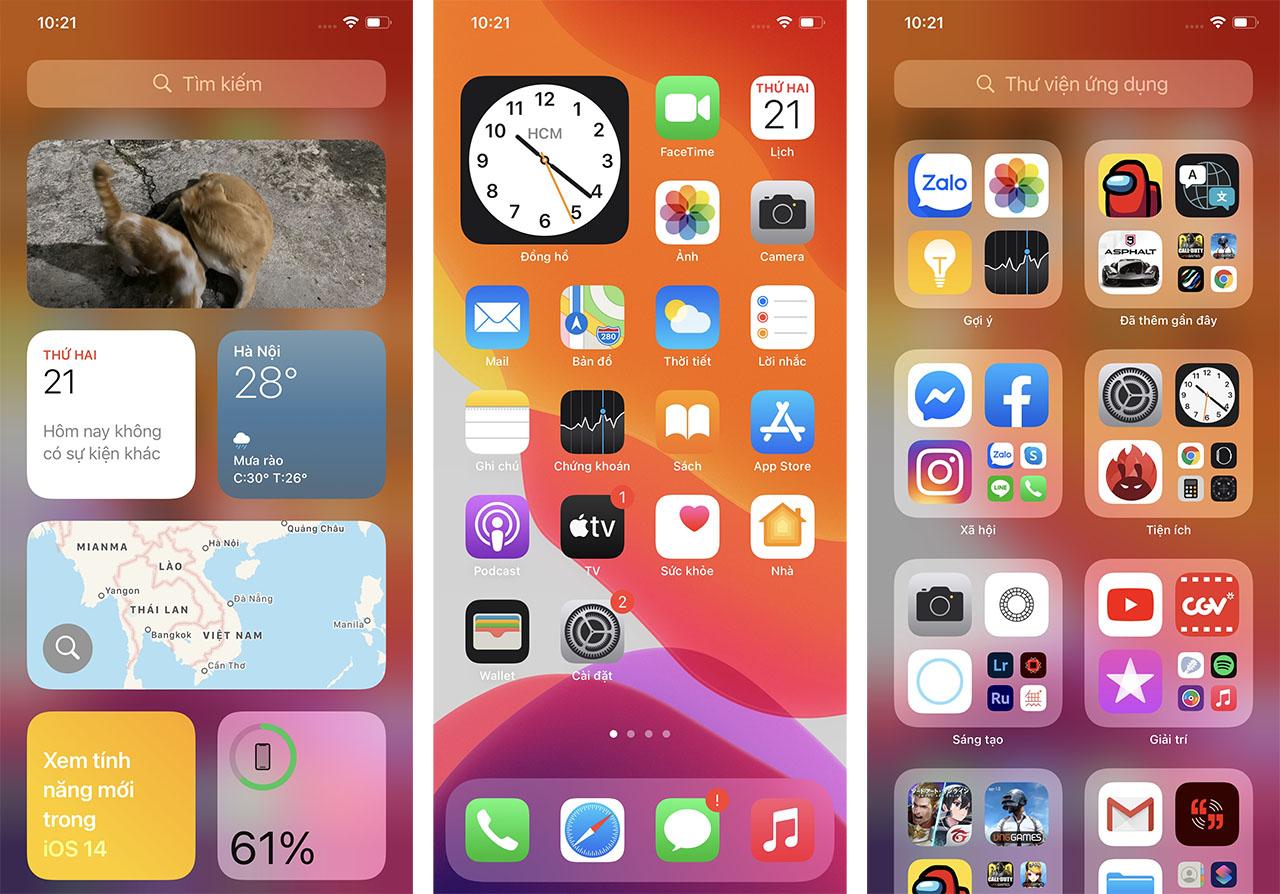 Giao diện mới của iOS 14 trên iPhone 11 Pro Max