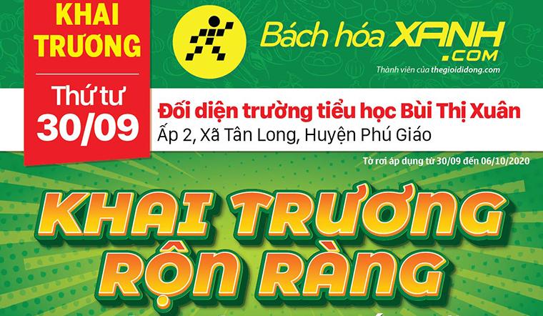 Cửa hàng Bách hoá XANH tại Ấp 2, Xã Tân Long, Huyện Phú Giáo khai trương ngày 30/09/2020