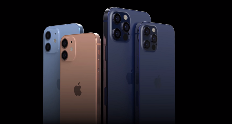 The photo shows the color versions of the iPhone 12