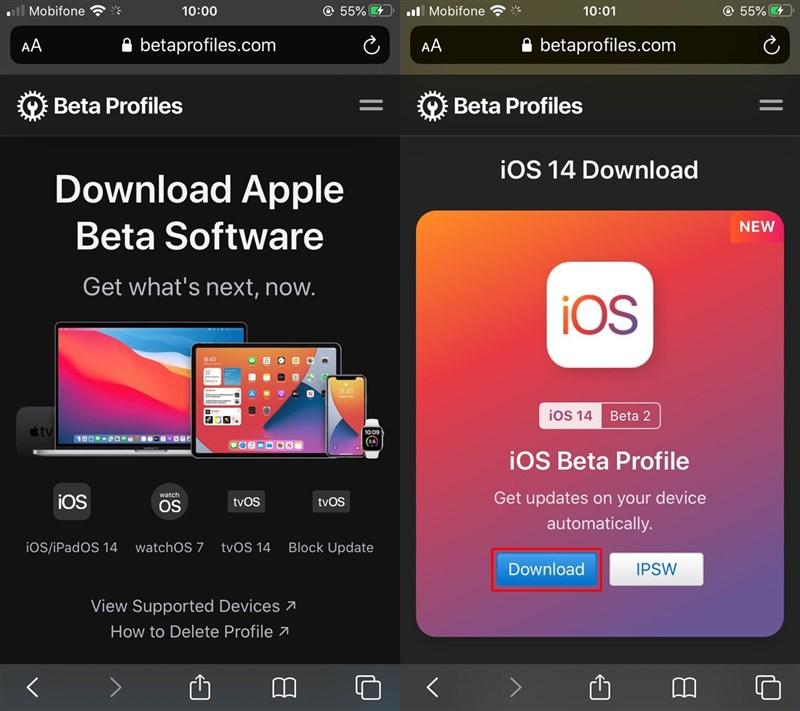 Tải iOS 14 beta Apple Beta Software