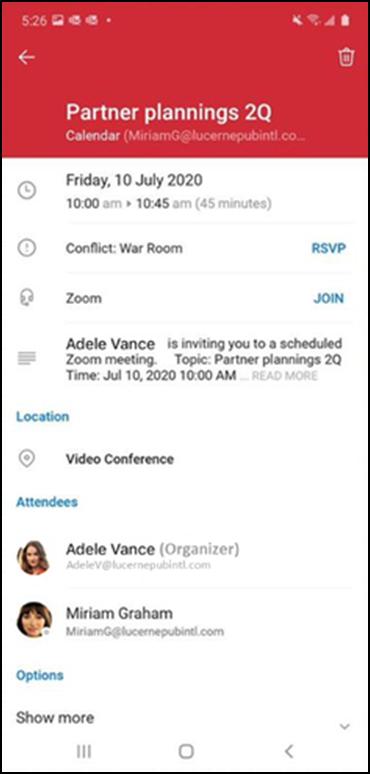 Tham gia hầu hết các cuộc họp bằng một lần chạm từ Outlook cho Android