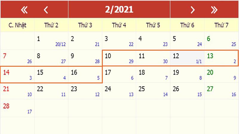 Lịch nghỉ Tết nguyên đán 2021 của người lao động cả nước (phương án 1)