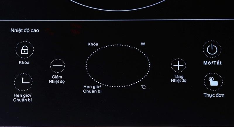 Bảng điều khiển cảm ứng trên bếp hồng ngoại đôi Sanaky SNK-201HGW