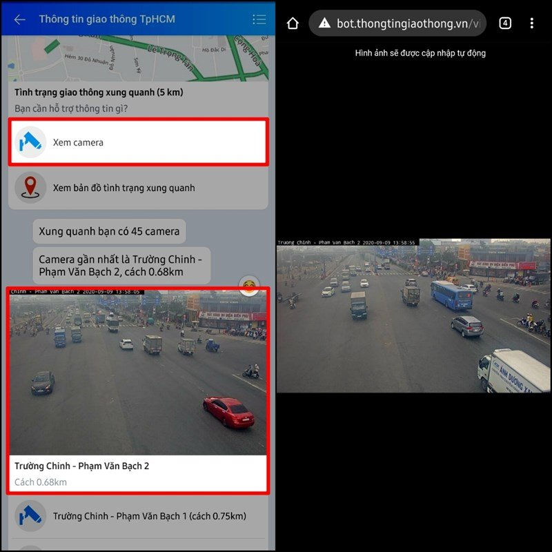 Trên màn hình của bạn lúc này sẽ hiển thị phần tin nhắn của hộp thoại thông tin giao thông TP HCM > Phía dưới cùng chọn mục Thông tin > Chọn Camera Giao thông.