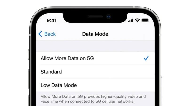 Chế độ dữ liệu trên iOS