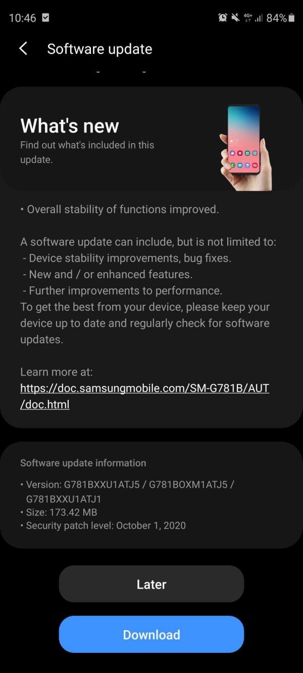 Samsung tung bản cập nhật phần mềm mới cho Galaxy S20 FE, giúp cải thiện màn hình cảm ứng