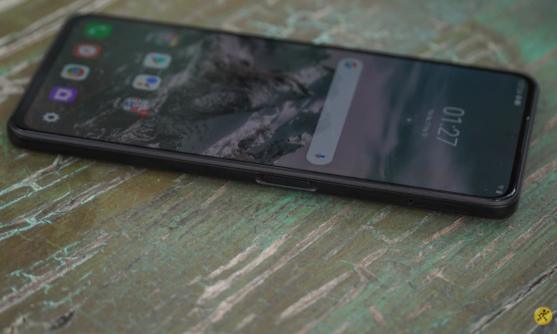 The right edge is where the power button is located, also the fingerprint sensor and sim slot.