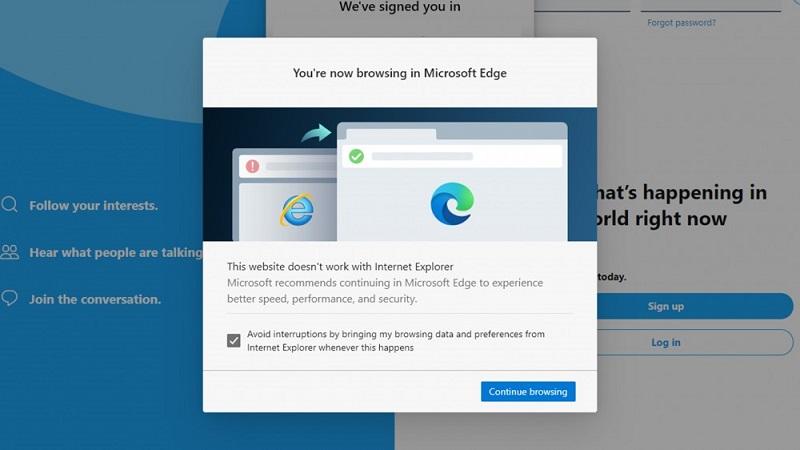 Hộp thoại chuyển hướng xuất hiện trên Internet Explorer khi bạn truy cập một số trang web