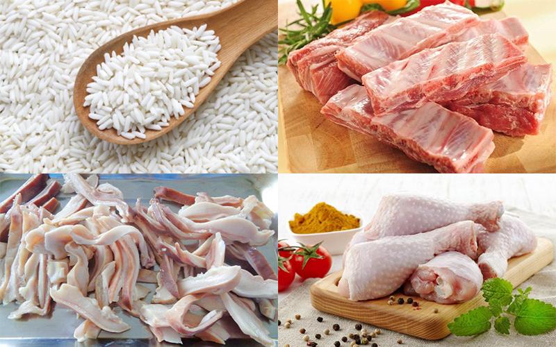 Nguyên liệu nấu cháo lẩu gồm gạo nếp, sườn non, dạ dày heo, đùi gà