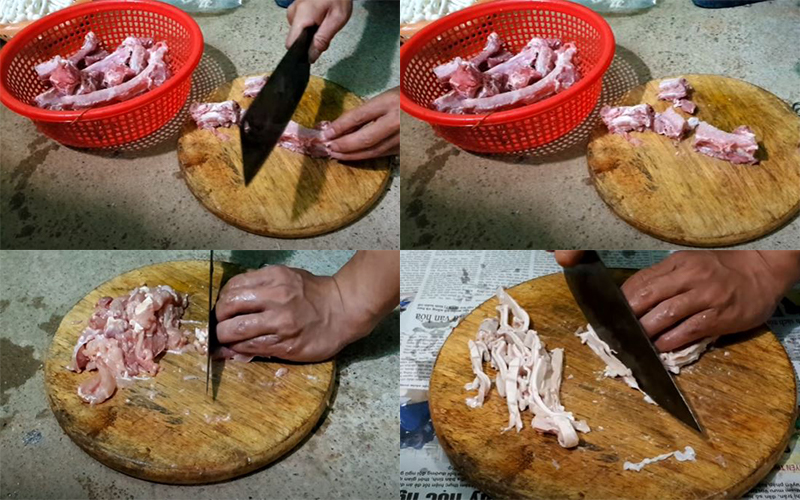 Sườn, gà, dạ dày rửa sạch và chặt khúc vừa ăn để nấu lẩu cháo