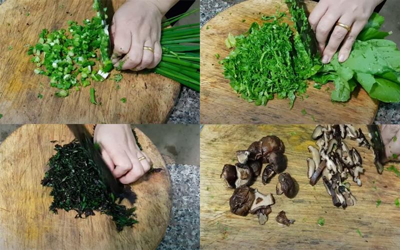 Thái nhuyễn hành lá, tía tô, cải xanh, nấm hương để nấu lẩu cháo