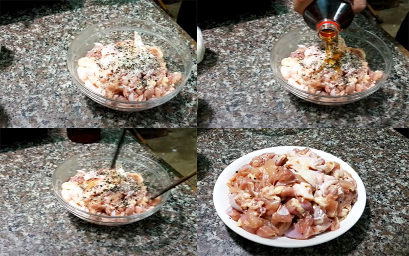 Ướp thịt gà với đường, tiêu, nước mắm để nấu lẩu cháo