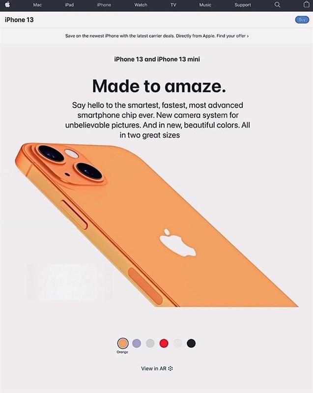 iPhone 13 và iPhone 13 mini sẽ có 6 tùy chọn màu sắc và có màu cam. Nguồn: Facebook Phúc Huy.