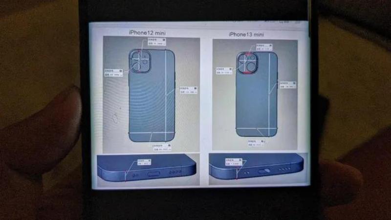Hình ảnh được cho là bản vẽ thiết kế của iPhone 13 mini
