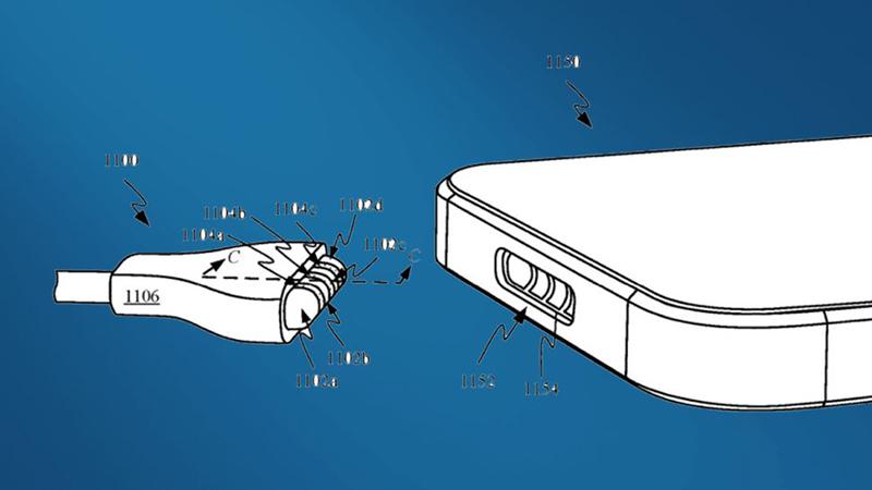 Hình ảnh cổng sạc MagSafe trên iPhone được mô tả trong bằng sáng chế mới của Apple