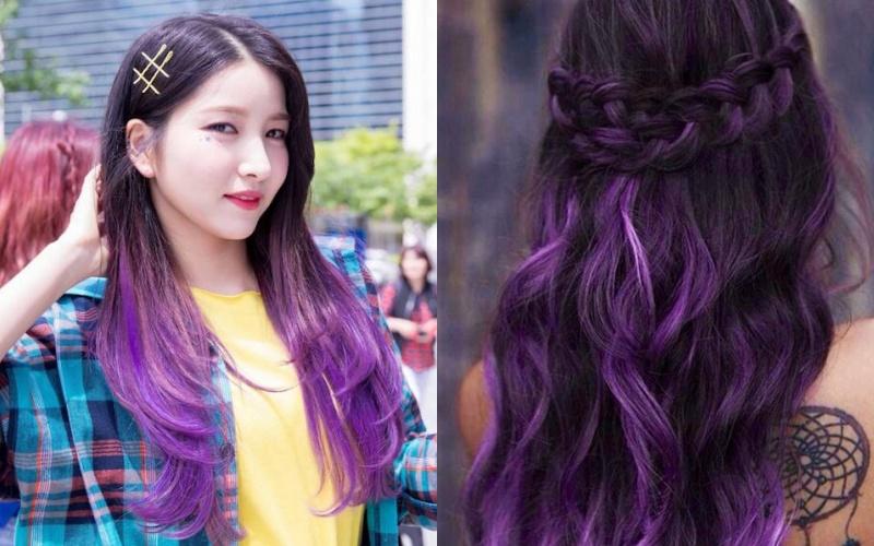 Cố gái có mái tóc nhuộm tím đen kiểu ombre