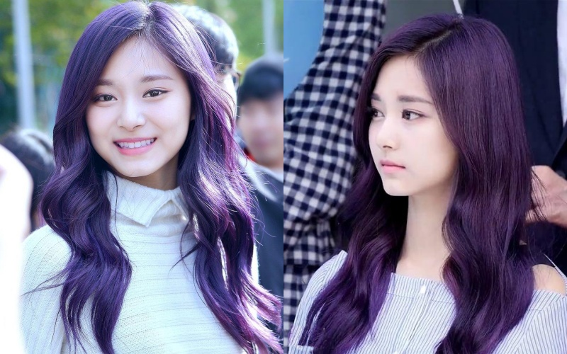 Cô gái có mái tóc nhuộm tím đen kiểu original