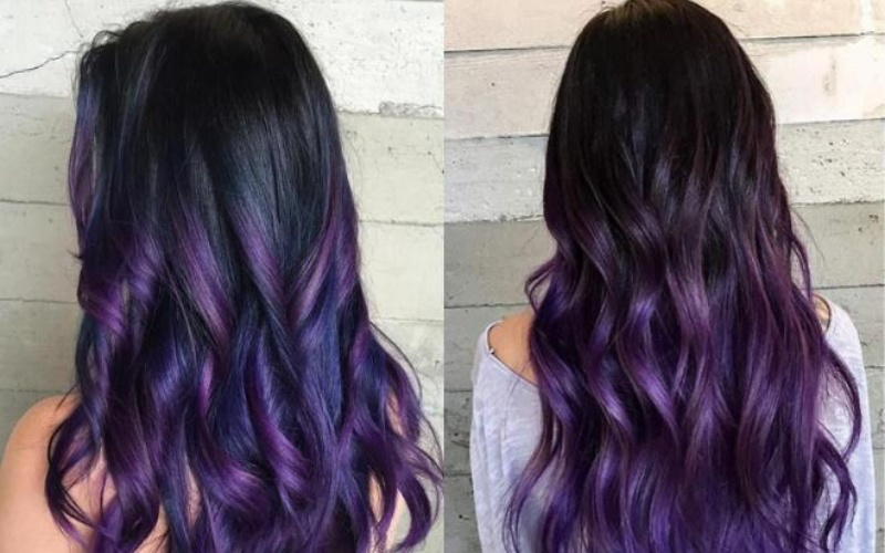 Mái tóc dài nhuộm mau hồng tím xanh đen
