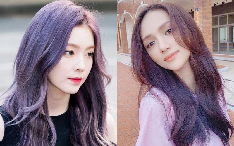 Cô gái với mái tóc dài nhuộm xanh tím đen khói