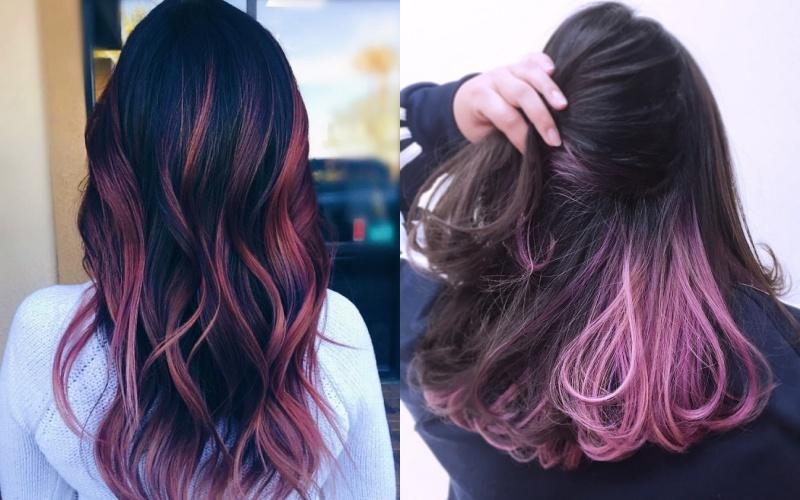 Mái tóc xoăn dài màu xanh tím highlight trên nền đen