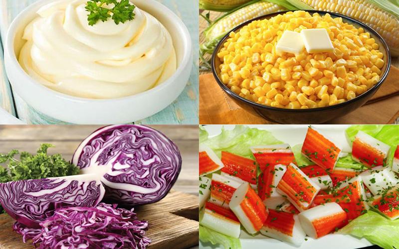 Nguyên liệu làm salad thanh cua