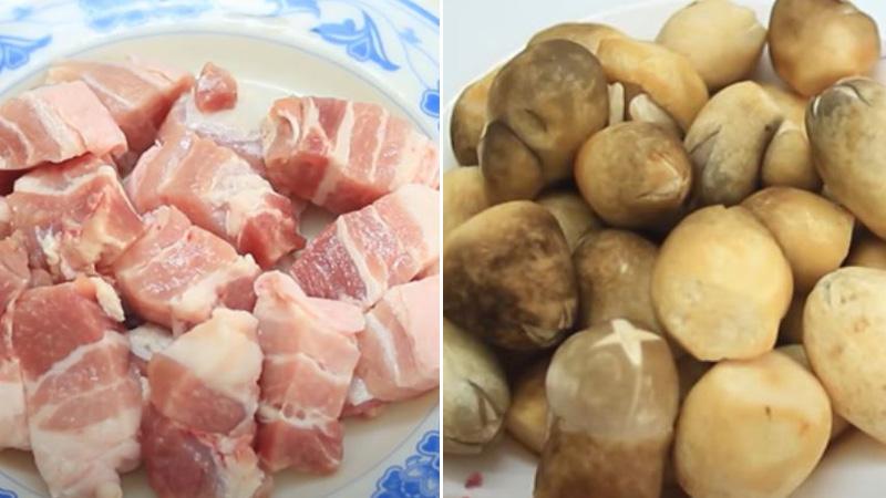 Sơ chế thịt heo và nấm