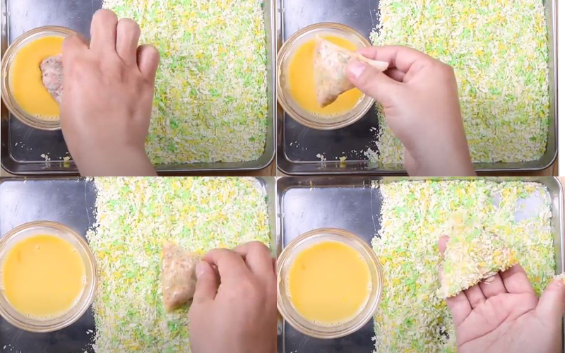 Lăn chả giò hình tam giác qua trứng và bột hiên xù