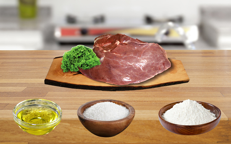 Dùng bột mì, muối và dầu mè làm sạch gan heo