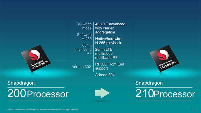 Chip specifications 200 & 210