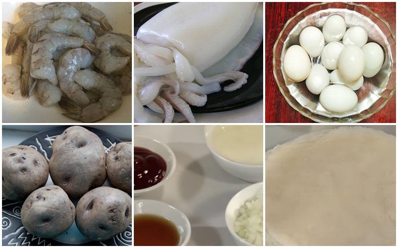 Nguyên liệu làm chả giò khoai tây trứng muối