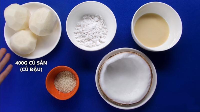 Nguyên liệu làm bánh củ sắn chiên mè