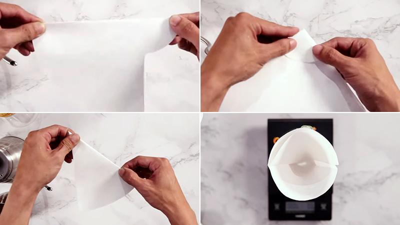 Gấp giấy lọc thành hình cái phễu