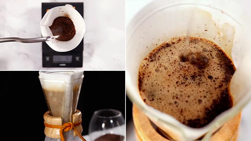 Rót nước sôi từ từ vào giữa cà phê