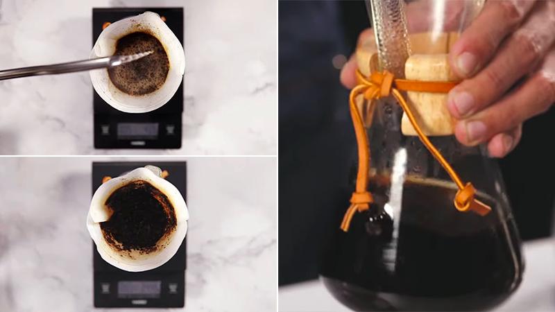 Rót hết phần nước sôi còn lại vào cà phê