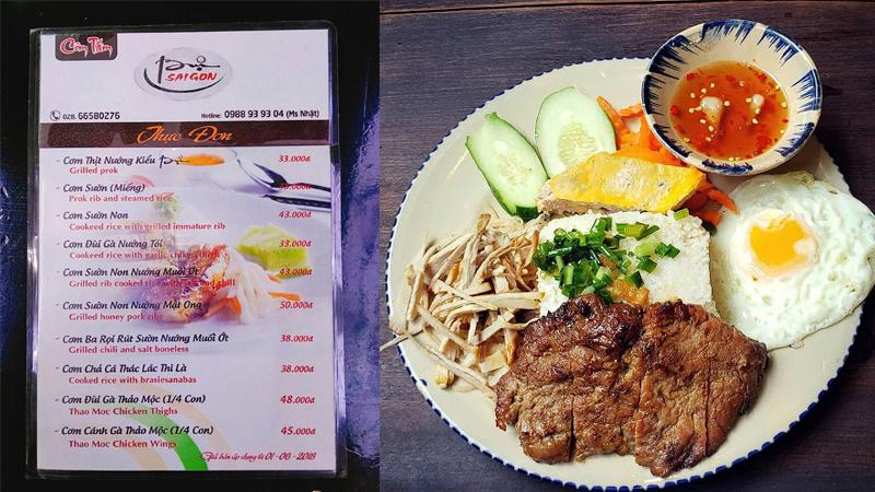 Menu cơm tấm Bụi Sài Gòn