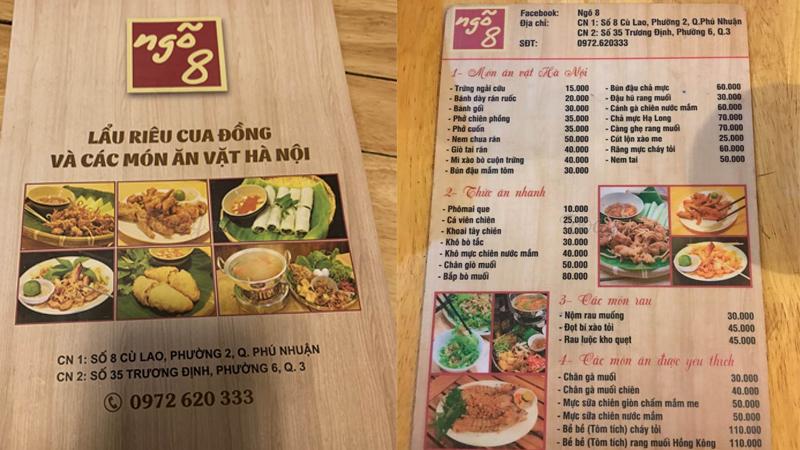 Menu Ngõ 8 - Trà Chanh & Lẩu Riêu Cua Đồng