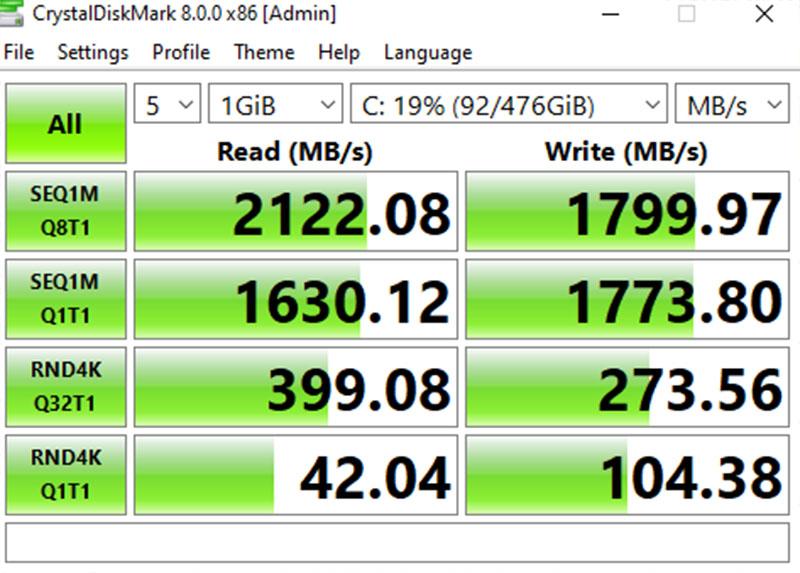 Đo tốc độ đọc và ghi của ổ cứng Acer Nitro 5