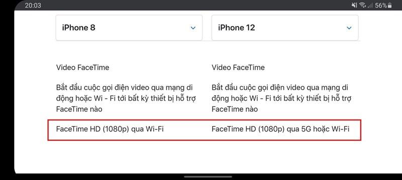 Facetime độ phân giải Full HD 1080p