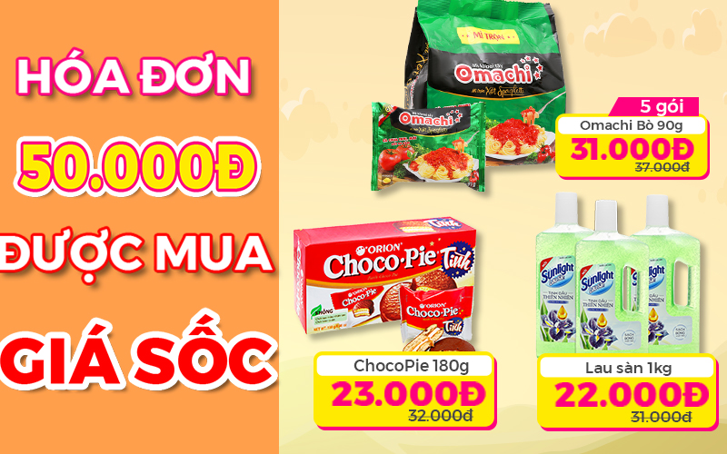 Nhiều sản phẩm được bán giá ưu đãi khi mua kèm hoá đơn 50.000đ